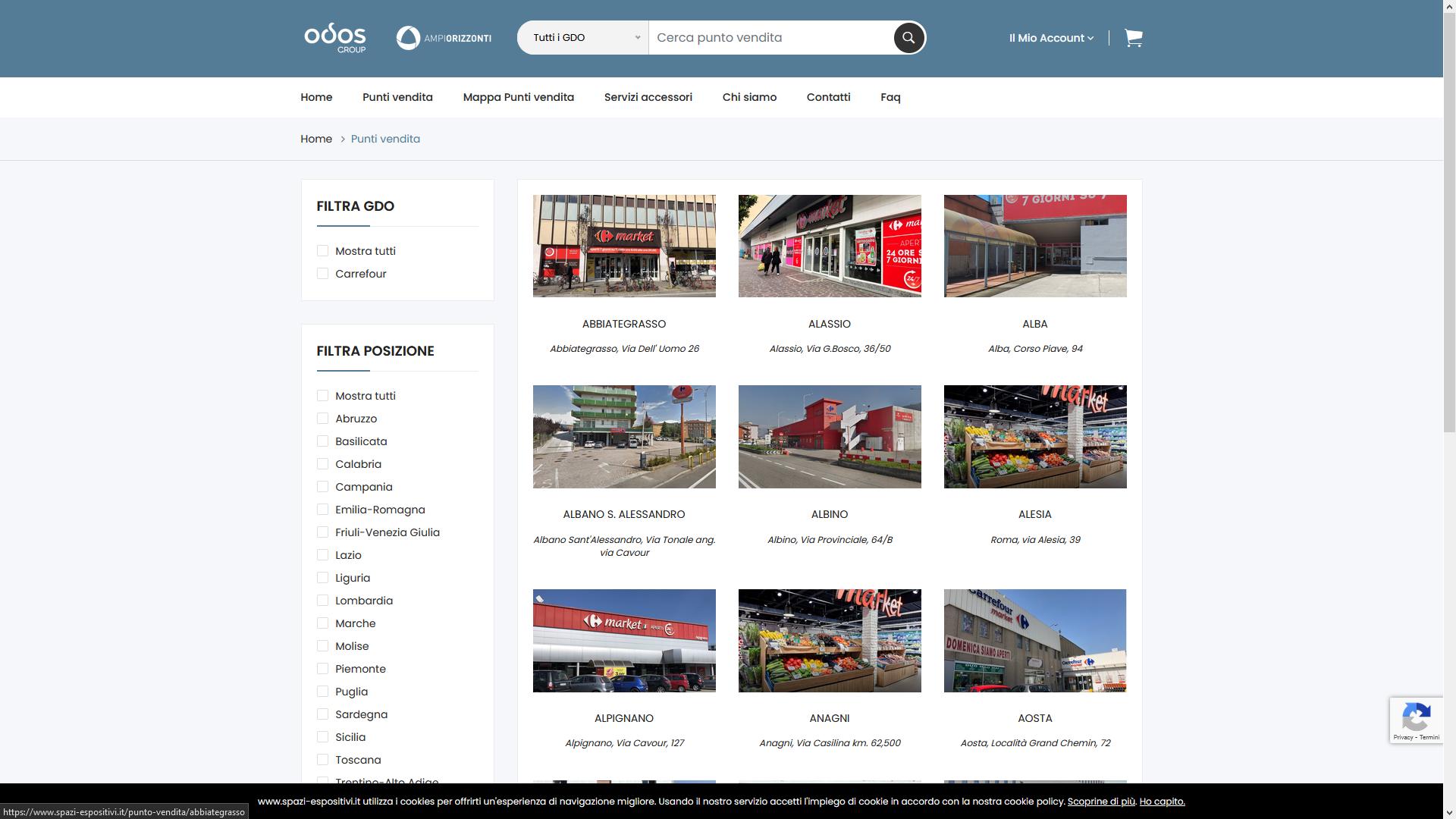 Lista punti vendita Carrefour